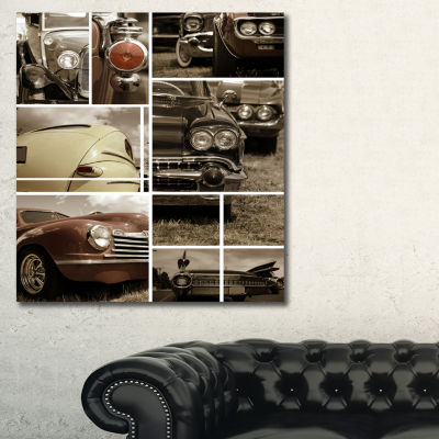 Designart Classic Car Collection Collage AbstractCanvas Art Print