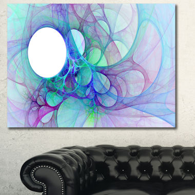 Designart Clear Blue Fractal Angel Wings AbstractWall Art Canvas