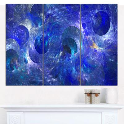 Design Art Clear Blue Fractal Glass Texture Abstract Canvas Art Print - 3 Panels
