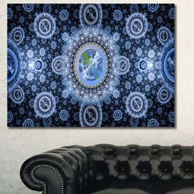 Designart Clear Blue Psychedelic Relaxing Art Abstract Canvas Art Print - 3 Panels