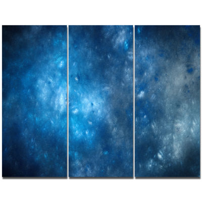 Design Art Clear Blue Starry Fractal Sky AbstractCanvas Art Print - 3 Panels