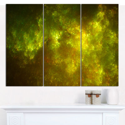 Designart Clear Golden Starry Fractal Sky AbstractCanvas Art Print - 3 Panels