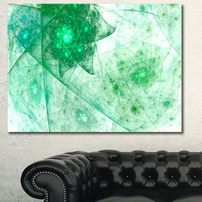 Designart Clear Green Rotating Polyhedron AbstractCanvas Wall Art - 3 Panels