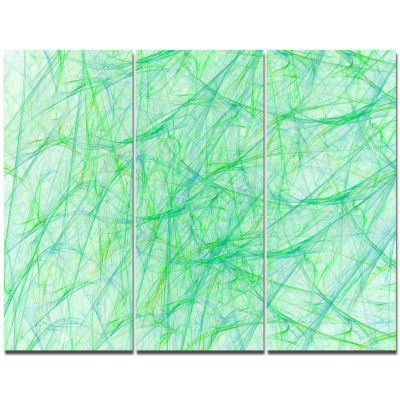 Designart Clear Green Veins Of Marble Abstract Canvas Art Print - 3 Panels