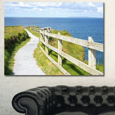 Designart Cliff Walk On Wild Atlantic Way Landscape Canvas Art Print - 3 Panels