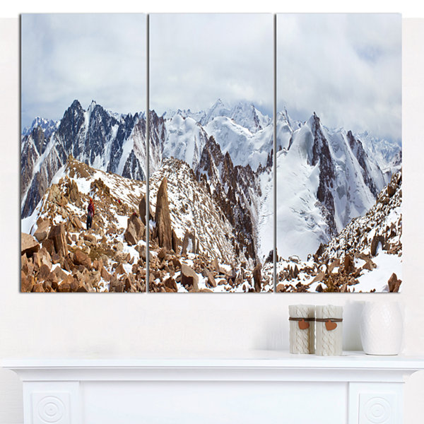 Designart Climbers On The Mountain Top LandscapeCanvas Art Print - 3 Panels