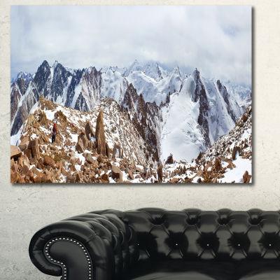 Designart Climbers On The Mountain Top Landscape Canvas Art Print - 3 Panels