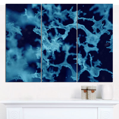Designart Cloudy Abstract Blue Texture Abstract Canvas Art Print - 3 Panels
