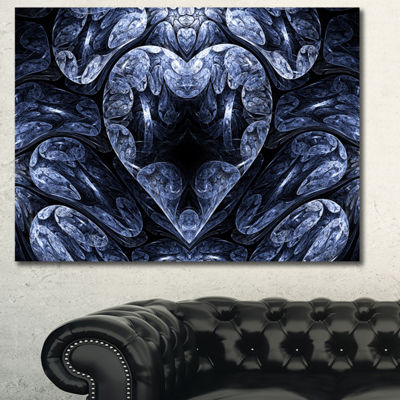Designart Cold Mystical Fractal Heart Abstract Canvas Art Print