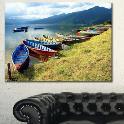 Designart Color Boats In Phewa Lake Boat Canvas Art Print