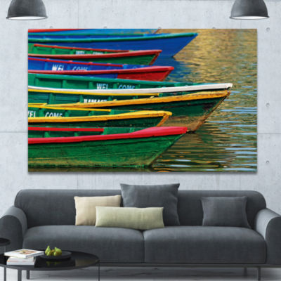Designart Color Boats On Phewa Lake Nepal Boat Canvas Art Print - 3 Panels