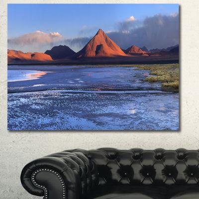 Designart Colorado Lagoon And Volcano Pabellon Landscape Canvas Art Print - 3 Panels