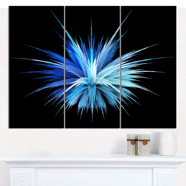 Design Art Colorful Blue Fountain Of Crystals Floral Canvas Art Print - 3 Panels