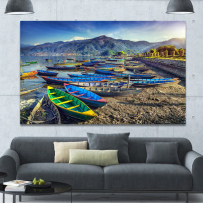 Designart Colorful Boats In Pokhara Lake Boat Canvas Art Print