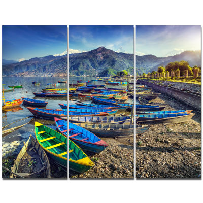 Design Art Colorful Boats In Pokhara Lake Boat Canvas Art Print - 3 Panels