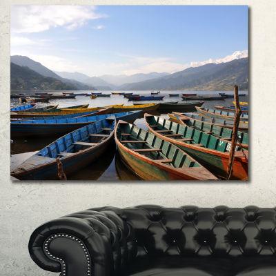 Designart Colorful Boats Pokhara Lake Boat CanvasArt Print - 3 Panels