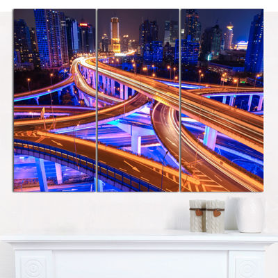 Designart Colorful City Overpass At Night Cityscape Canvas Art Print - 3 Panels