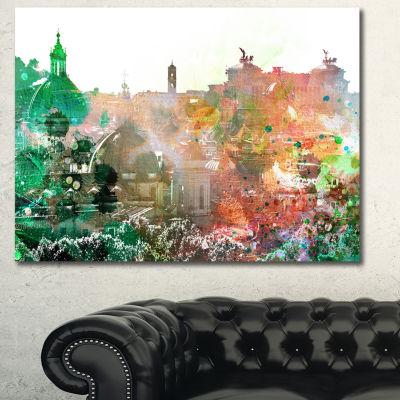 Designart Colorful City Watercolor Landscape Canvas Art Print