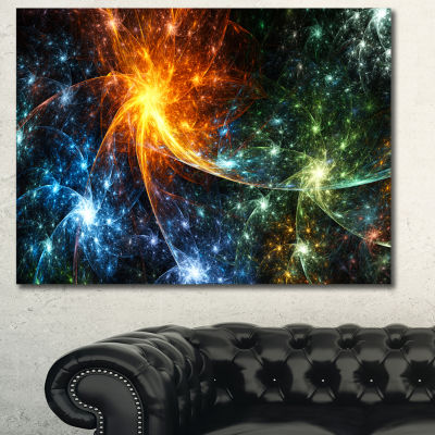 Designart Colorful Fireworks With Stars AbstractCanvas Art Print - 3 Panels