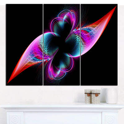 Designart Colorful Flower Fractal Rainbow AbstractArt On Canvas - 3 Panels