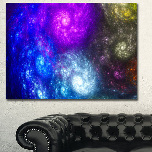 Designart Colorful Fractal Rotating Galaxies Abstract Wall Art Canvas - 3 Panels