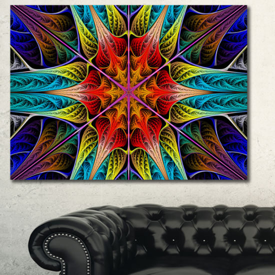Designart Colorful Fractal Stained Glass AbstractCanvas Art Print