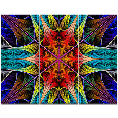 Designart Colorful Fractal Stained Glass AbstractCanvas Art Print - 3 Panels