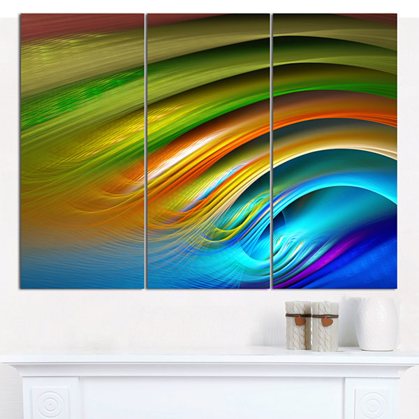 Designart Colorful Fractal Water Ripples AbstractCanvas Art Print - 3 Panels