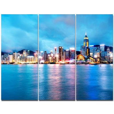 Designart Colorful Hong Kong At Night Cityscape Canvas Art Print - 3 Panels