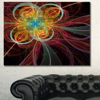 Designart Colorful Red Fractal Flower Abstract Canvas Art Print - 3 Panels