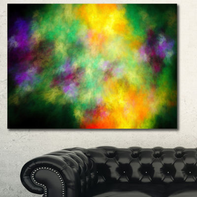 Designart Colorful Sky With Blur Stars Abstract Canvas Art Print - 3 Panels