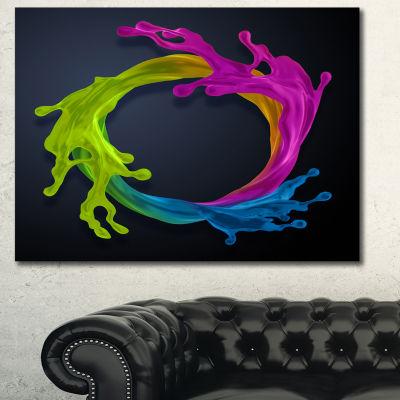 Designart Colorful Splash Round Abstract Canvas Art Print