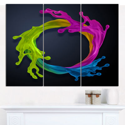 Designart Colorful Splash Round Abstract Canvas Art Print - 3 Panels