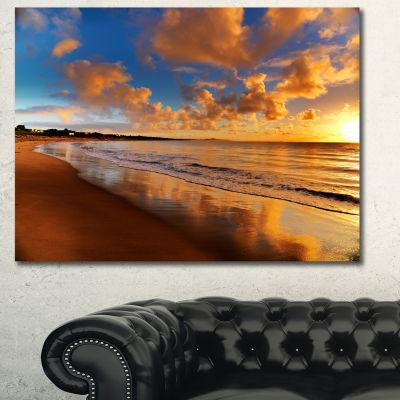 Designart Colorful Sunset On The Beach LandscapeCanvas Art Print - 3 Panels