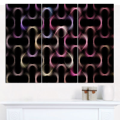 Design Art Colorful Unusual Metal Grill Abstract Canvas Wall Art - 3 Panels