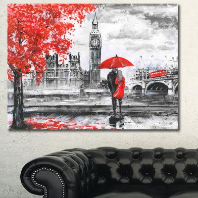Design Art Couples Walking In Paris Landscape Canvas Art Print - 3 Panels