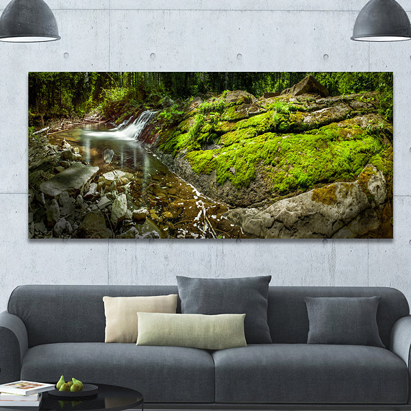 Designart Creek Moss And Rocks Panorama LandscapeCanvas Art Print