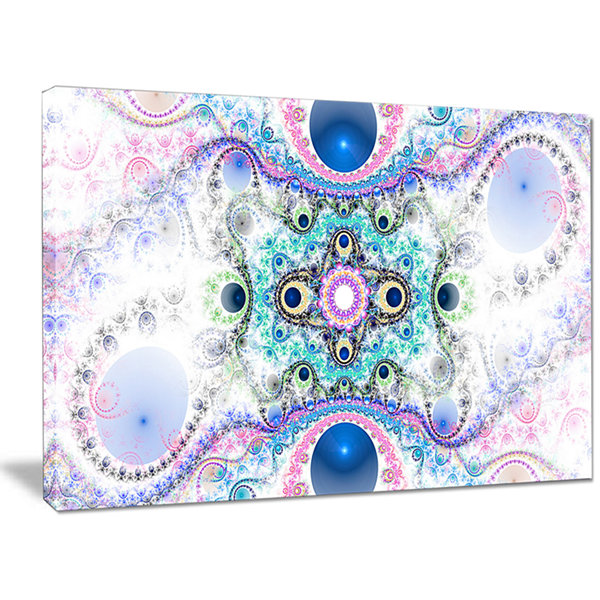Designart Cryptical Blue Fractal Pattern AbstractWall Art Canvas