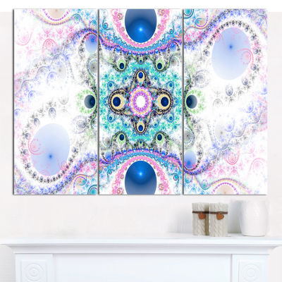 Designart Cryptical Blue Fractal Pattern AbstractWall Art Canvas - 3 Panels