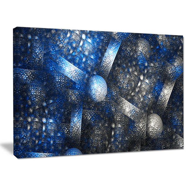 Designart Crystal Cell Dark Blue Steel Texture Abstract Wall Art Canvas