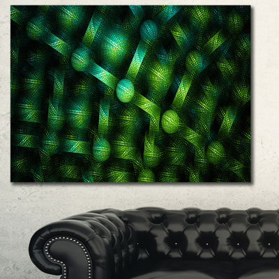 Designart Crystal Cell Green Steel Texture Abstract Canvas Art Print - 3 Panels