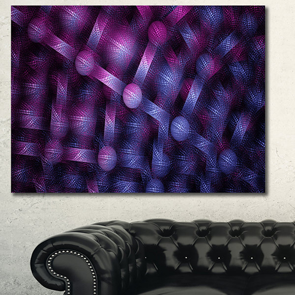 Designart Crystal Cell Purple Steel Texture Abstract Wall Art Canvas - 3 Panels