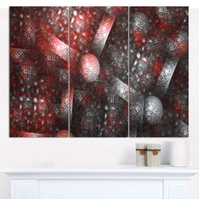 Designart Crystal Cell Red Steel Texture AbstractCanvas Art Print - 3 Panels