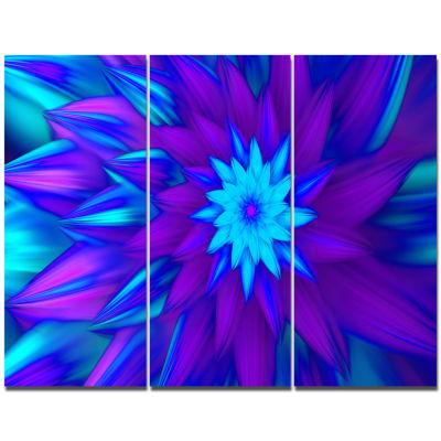 Designart Dance Of Blue Flower Petals Floral Canvas Art Print - 3 Panels
