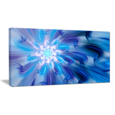 Designart Dance Of Blue Fractal Flower Petals Floral Canvas Art Print