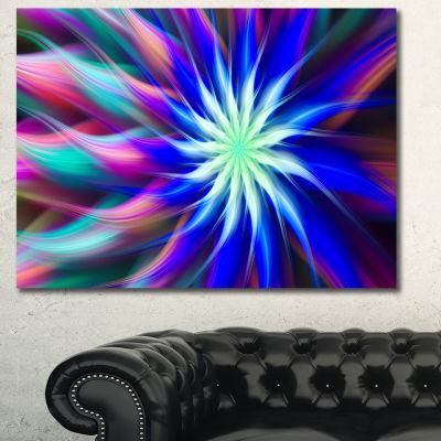 Designart Dance Of Bright Spiral Blue Flower Floral Canvas Art Print