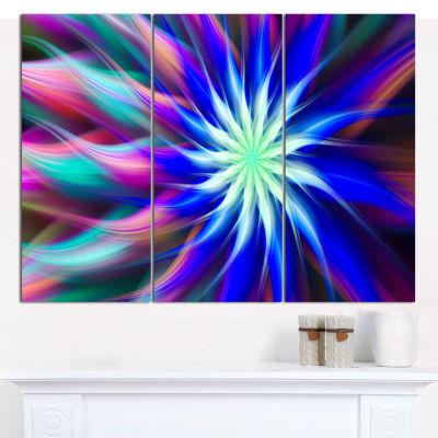 Designart Dance Of Bright Spiral Blue Flower Floral Canvas Art Print - 3 Panels