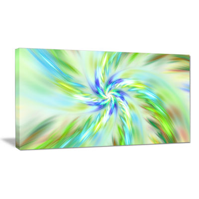 Designart Dance Of Bright Spiral Green Flower Floral Canvas Art Print
