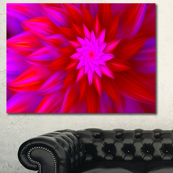 Designart Dance Of Bright Spiral Pink Flower Floral Canvas Art Print