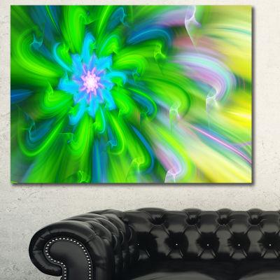 Designart Dance Of Green Flower Petals Floral Canvas Art Print